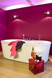 paarse badkamer